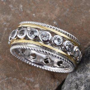 NEW Size 5 White Topaz Gold & Silver Spinner Ring